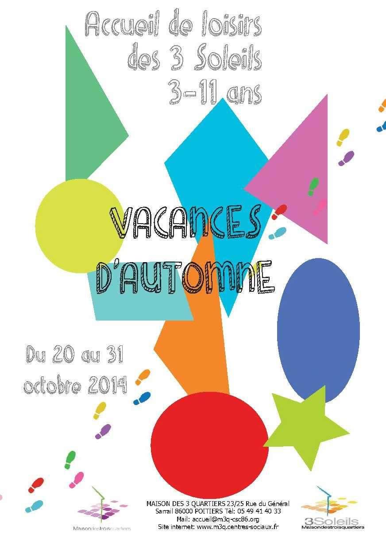 """Programme vacances d'Automne Accueil de Loisirs """"3 Soleils"""" et """"Le Ventilo"""""""